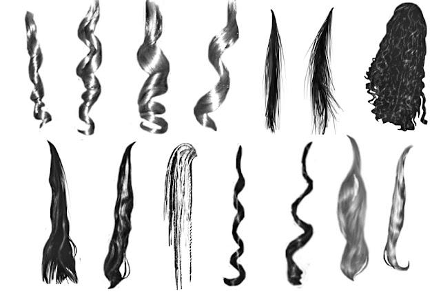 فرش فوتوشوب لأشكال خصلات الشعر للمصممين