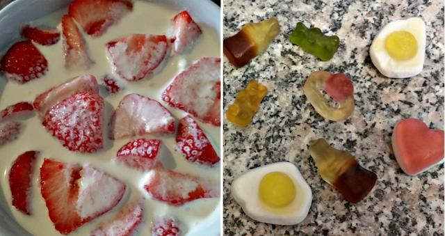 Strawberries and cream and Haribo