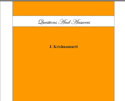 Questions and Answers by J. Krishnamurti Download eBook in PDF