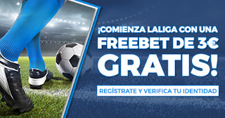 Paston freebet 3€ gratis comienzo LaLiga 11-13 septiembre 2020