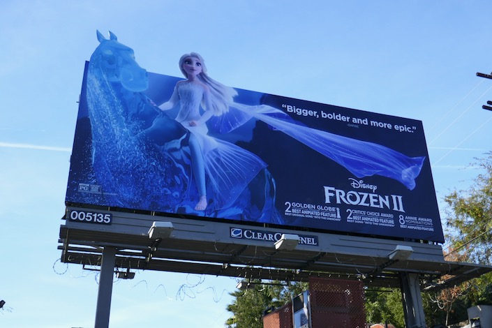 Frozen II Golden Globe nominee billboard
