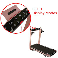 Sunny Health & Fitness Asuna SpaceFlex's console, image, 7750P & 7750 Treadmills, with 6 LED display modes