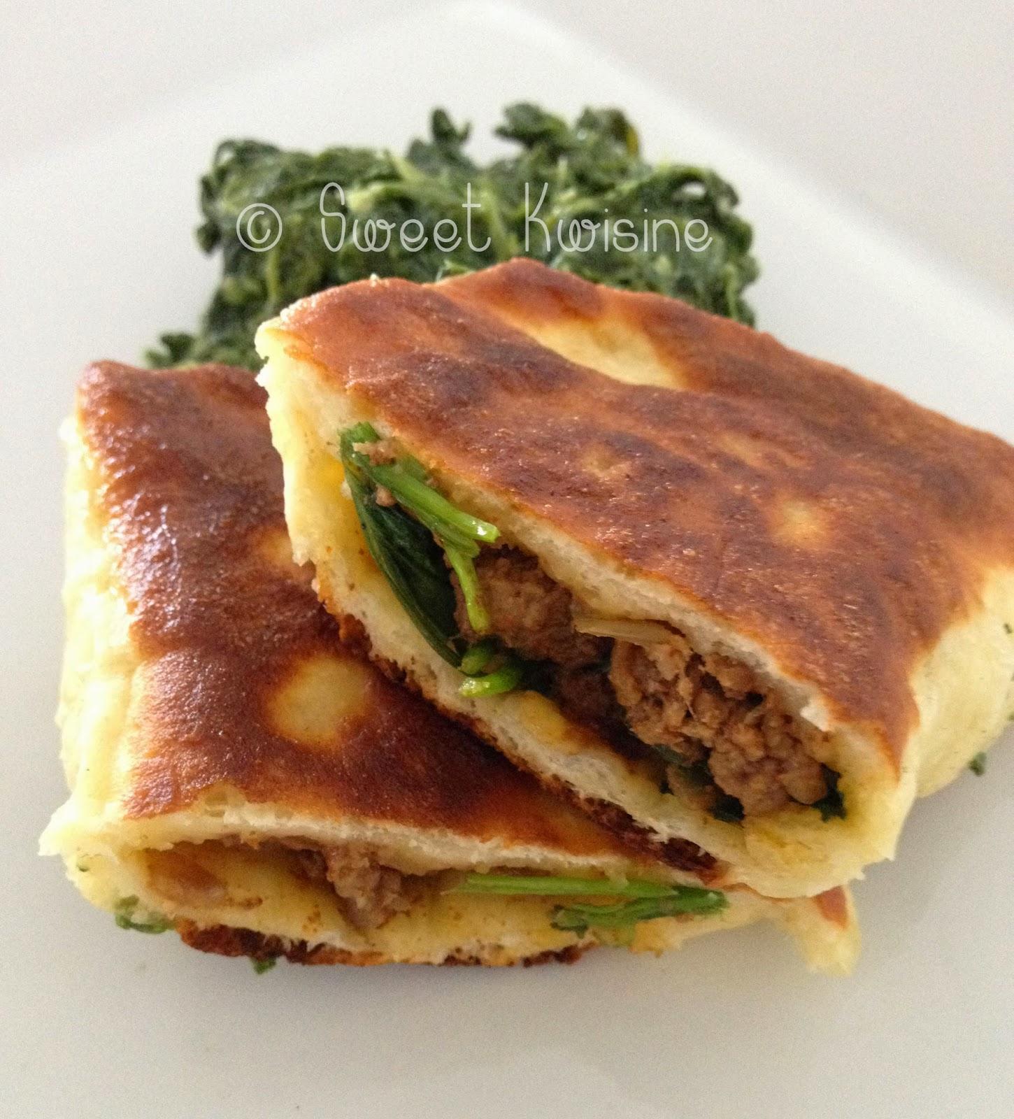 sweet kwisine, cuisine turque, galettes, pain, épinards, viande de boeuf, persil, coriandre, streetfood
