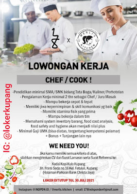Lowongan Kerja Independen X Merli's Kitchen Sebagai Chef/Cook