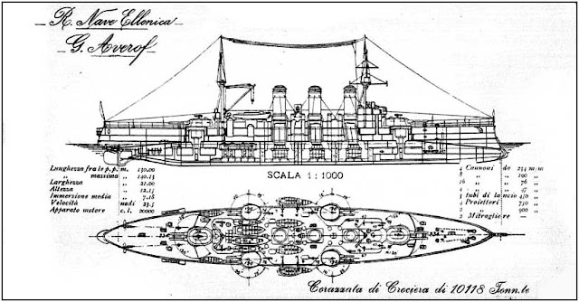 Right elevation and deck plan, Greek cruiser Georgios Averof, Livorno