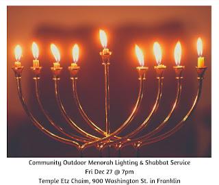 Community Outdoor Menorah Lighting and Shabbat Service - Dec 27