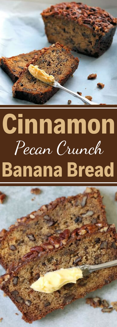 CINNAMON PECAN CRUNCH BANANA BREAD #desserts #cakes #easy #recipes #banana