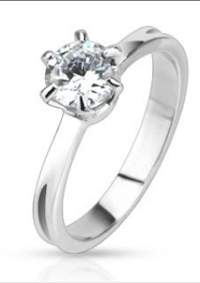 Image shows Classic Prong Set Cubic Zirconia Solitaire Band 316L Stainless Steel Ring link opens on the OoohShinyThings website
