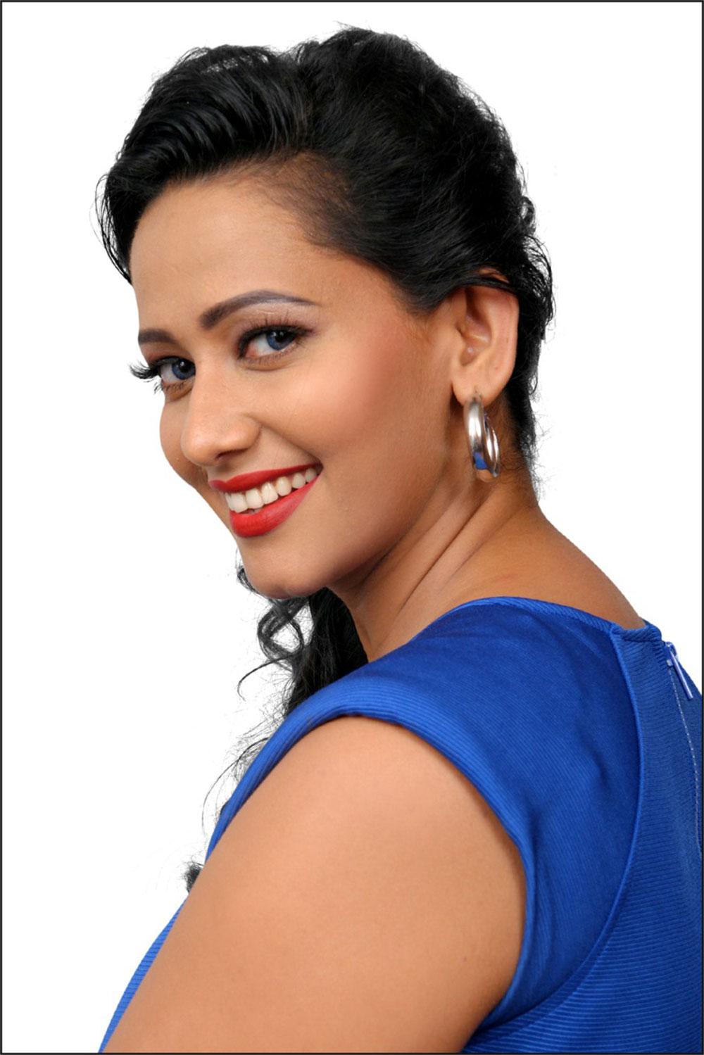 Hot gorgeous Sanjana singh in blue dress