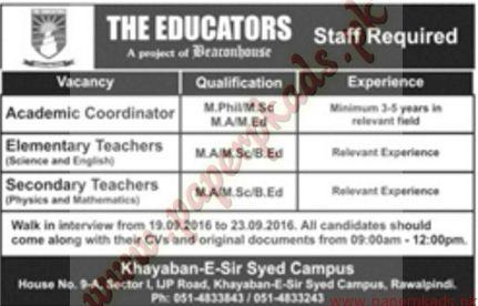 The Educators, Rawalpindi, Islamabad, Punjab, 18-09-2016, Jang, Express, Private Jobs, B.Ed,
