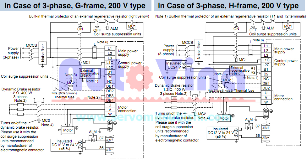 Sơ đầu đấu nối servo Panasonic Minas A5 loại 3 phase 220V Frame G, Frame H