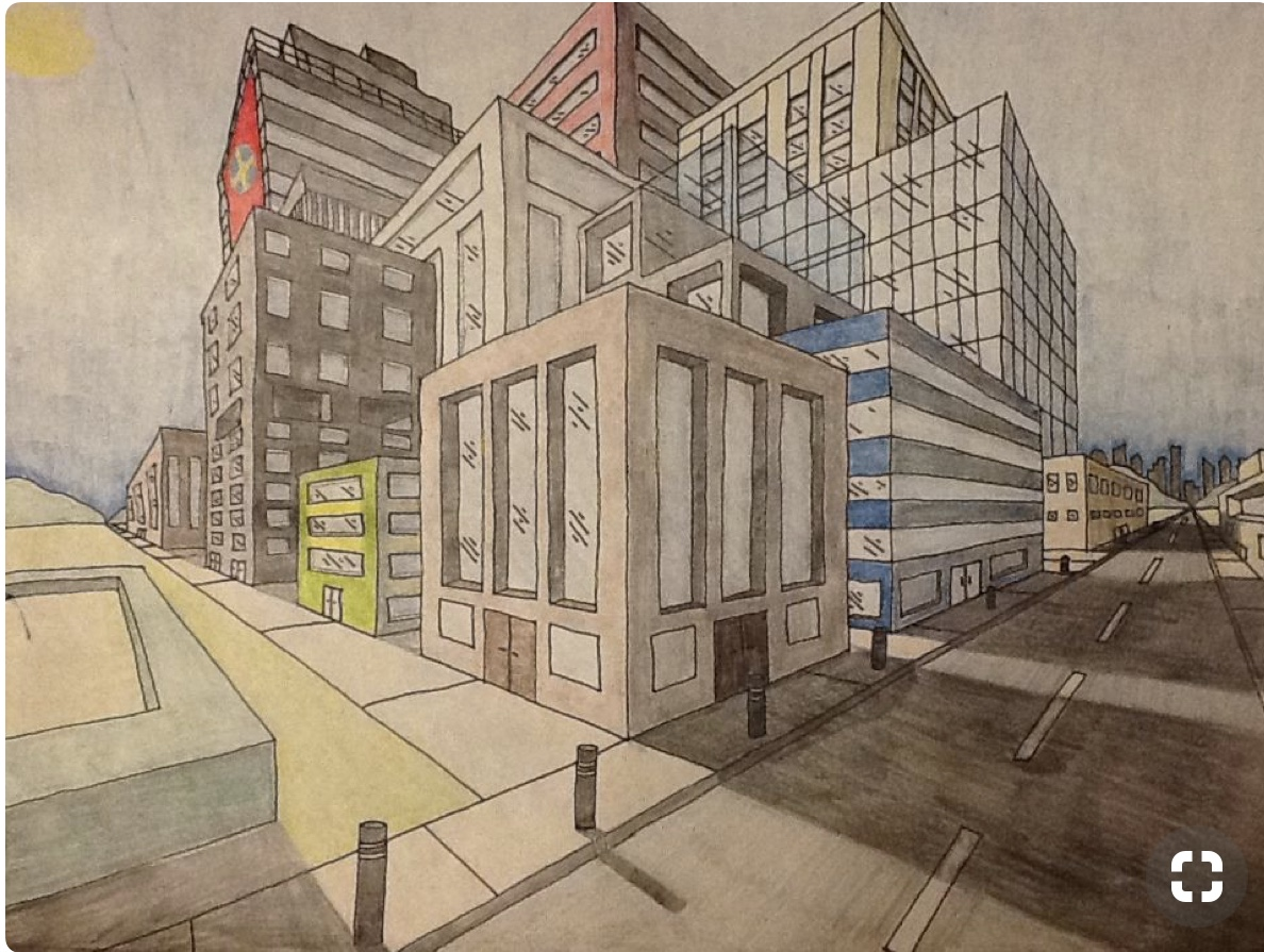 Pencils N Paintbrushes Two Point Perspective City