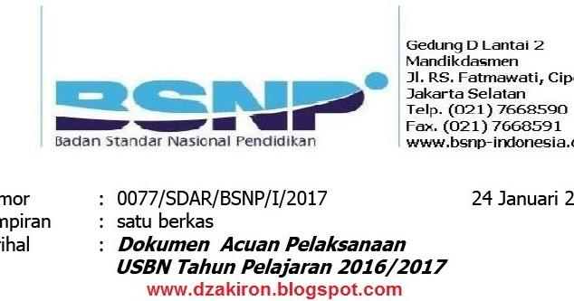Surat Edaran Badan Standar Nasional Pendidikan Nomor 0077 Sdar Bsnp I 2017 Tanggal 24 Januari