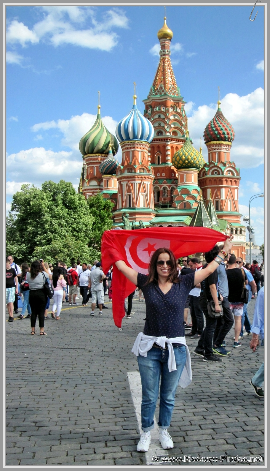 Football fan on Red Square in Moscow during the 2018 FIFA World Cup