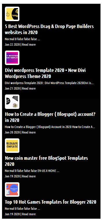 Pro Horizontal Black Style Recent Post Widgets for Blogger with image Thumbnails.