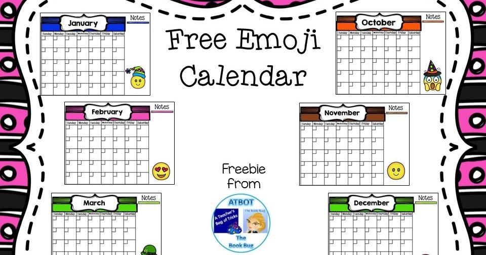Blank Calendar Emoji : Classroom freebies emoji fun calendar