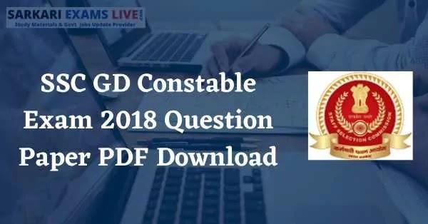 SSC GD Constable Exam 2018 Question Paper PDF Download