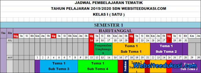 Jadwal Pelajaran SD/MI Tahun Pelajaran 2019/2020