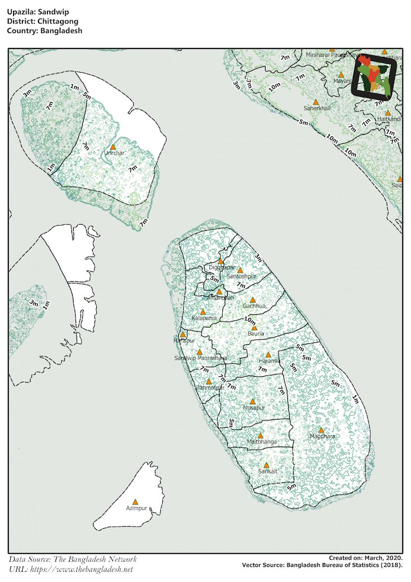Sandwip Upazila Elevation Map Chittagong District Bangladesh