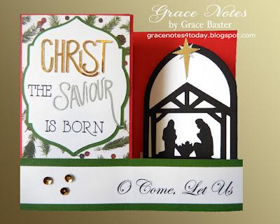3-panel nativity scene Christmas card. By Grace Baxter