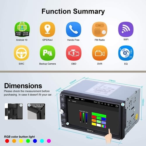 Vanku 4GB RAM+64GB Android 10 Double Din Car Stereo