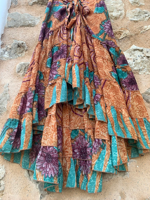 my midlife fashion, Somerset forage 100% vintage silk sari rah rah wrap skirt