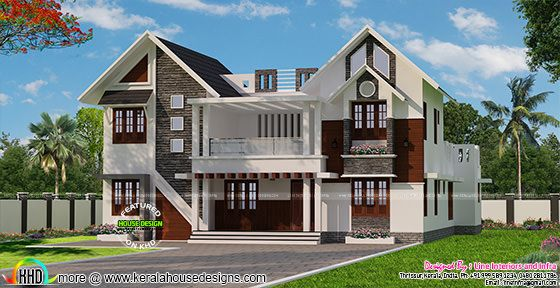 2987 sq-ft 5 bedroom sloping roof mix house