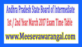 Andhra Pradesh State Board of Intermediate 1st / 2nd Year March 2017 Exam Time Table