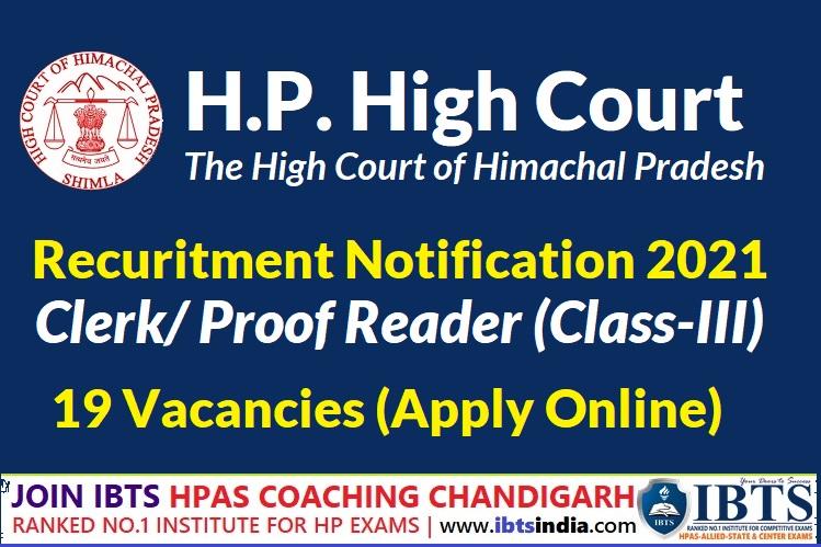 HP High Court Clerk Recruitment 2021 Apply Online @hphcrecruitment.in