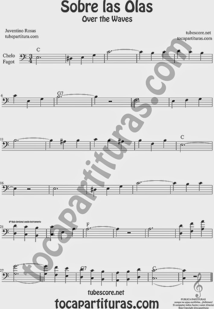 Sobre las Olas Partitura de Violonchelo y Fagot Sheet Music for Cello and Bassoon Music Scores Juventino Rosas Over the Waves