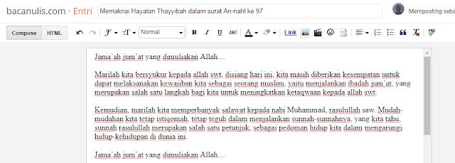 Memaknai Hayatan Thayyibah dalam surat An-nahl ke 97