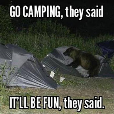 go camping they said, camping funny, camping humor, tent humor, camp humor, bear at campsite, camping hazards, camping danger, tent safety