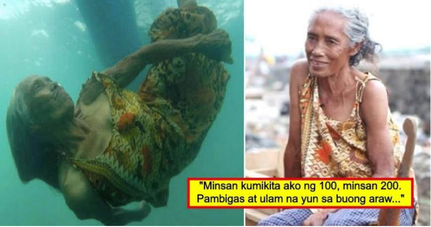74-Taong-Gulang Na Ina, Binubuhay Ang Pamilya Sa Pagsisid Ng Barya Sa Ilalim Ng Dagat Araw-Araw