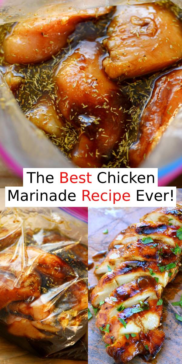 The Best Chicken Marinade recipe ever! This easy chicken marinade recipe is going to quickly become your favorite go-to marinade! This marinade produces so much flavor and keeps the chicken incredibly moist and outrageously delicious - try it today! #chicken #chickenbreast #marinade #dinner #maindish #bestrecipe