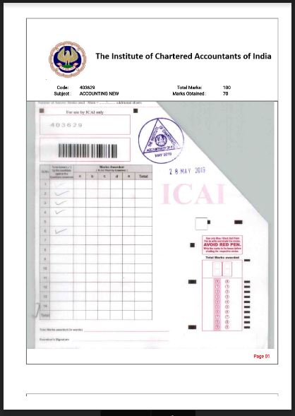 Download CA Inter Accounts Certified Copy with 70 marks
