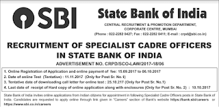 SBI Recruitment 2017 Apply Online for 41 Specialist Cadre Officer Posts
