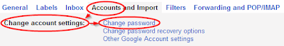 Settings->Accounts->Change password