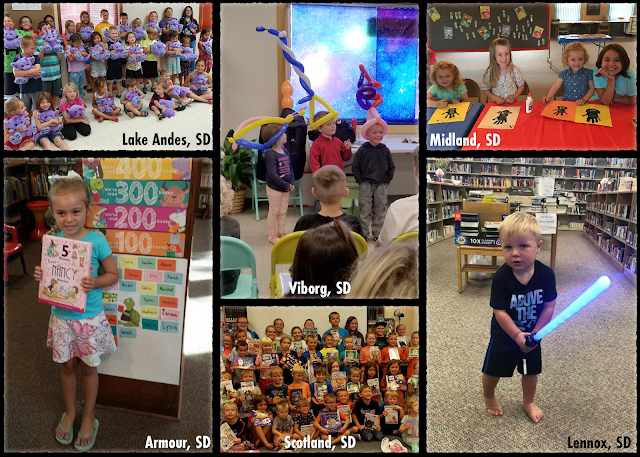 collage of photos of library programs from Lake Andes, Scotland, Viborg, and Midland. Also features additional images of children from Armour and Lennox South Dakota.and