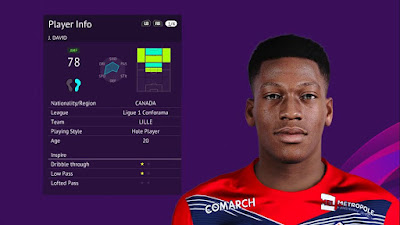 PES 2020 Faces Jonathan David by Raden