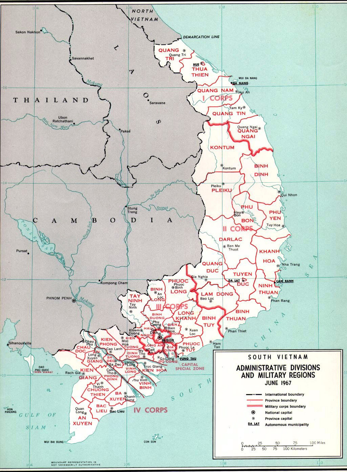 Bản đồ Vùng 2 Chiến thuật II – 1973