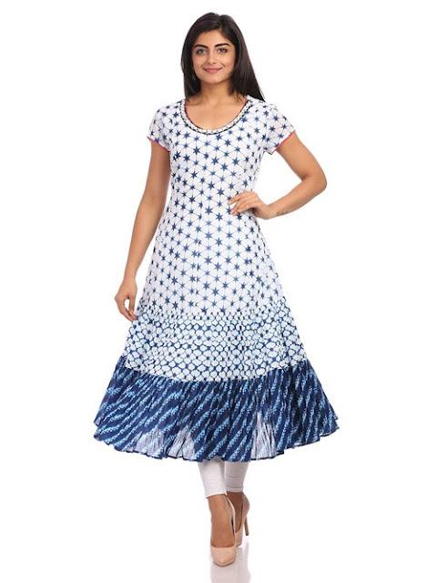 White Kalidar Cotton Dress