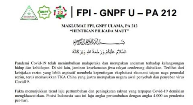 Keluarkan Maklumat, FPI, GNPF Ulama dan PA 212: Boikot Pilkada Serentak