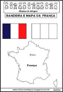 Bandeira e mapa da França