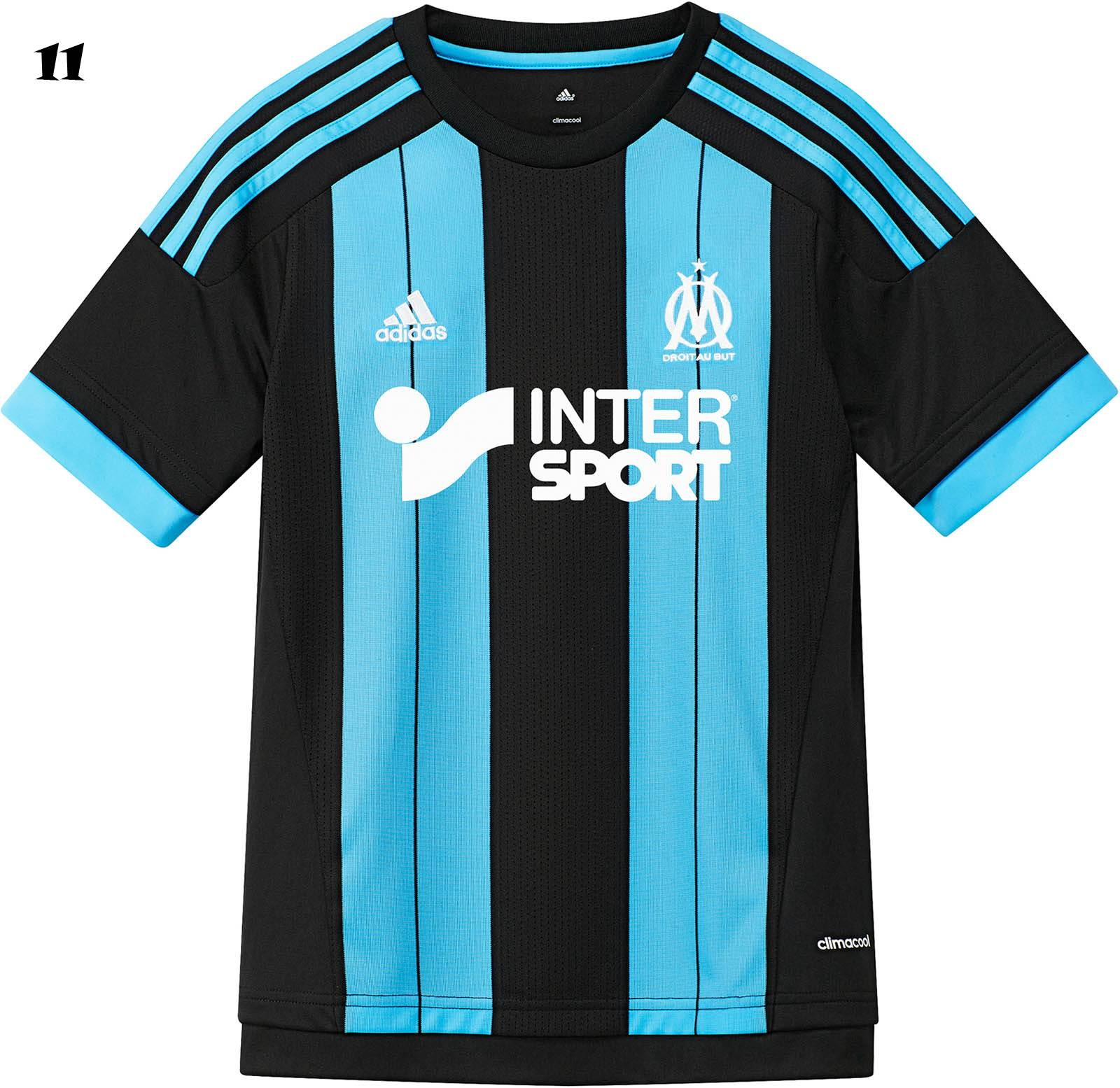 54183cae8a3 The new black   light blue OM 15-16 Away Jersey features a unique vertical  stripes design to make a statement on the pitch. Adidas uses a simple crew  neck ...