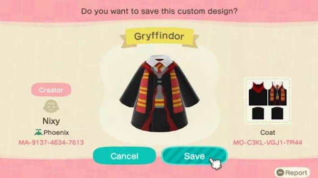 Kode Pakaian Harry Potter Animal Crossing New Horizons-8