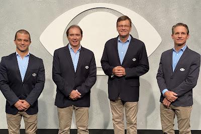 Max Wilson, Reginaldo Leme, Sergio Mauricio e Felipe Giaffone estão na equipe de transmissão da Fórmula 1. Crédito: Tatiane Moreno/Band
