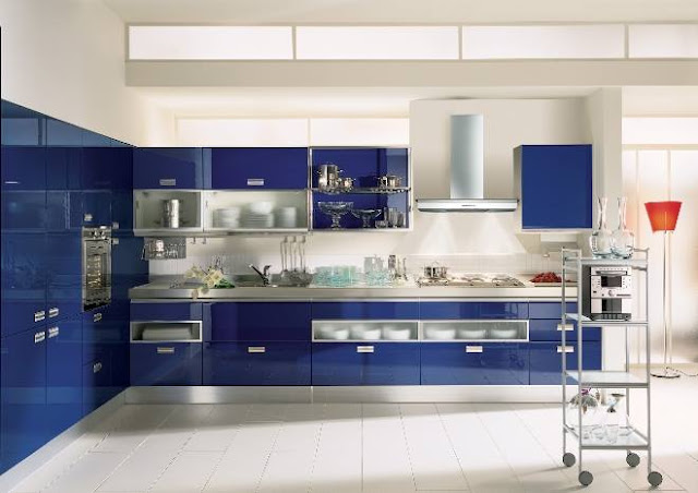Dazzling Light Blue Modern Style Kitchen Decoration with White Kitchen Cabinet and Small Furniture