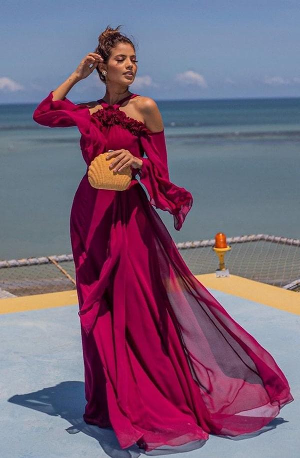 vestido longo vinho para casamento