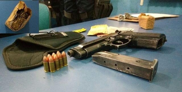 Polícia Militar prende jovem foragido da justiça com arma de fogo e drogas