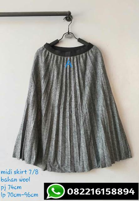 rok plisket panjang import